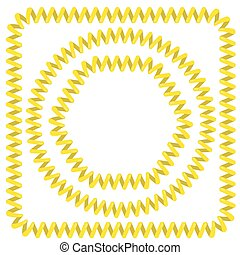 Cable Frames - Set of Yellow Cable Frames Isolated on White...
