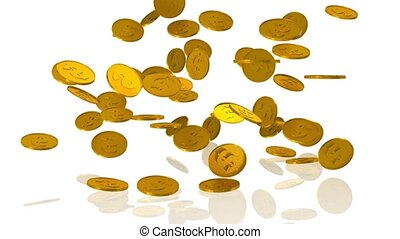 Coins - Golden dollar coins fall on white background - 3d...