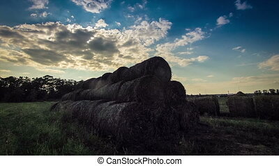 hay in a field at sunset nature timelapse Ukraine
