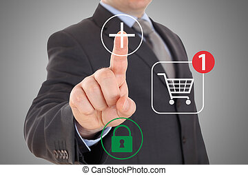 Hand pushing virtual symbol Add or Buy, on line shopping