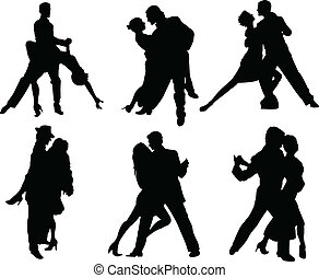 Tango dancers silhouettes - Set of tango dancers silhouettes...