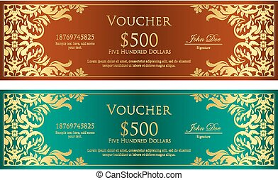 Luxury magenta and blue voucher with vintage ornament -...