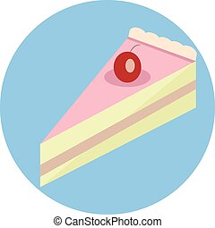 Cake slice - Tasty cake slice with cherry.Flat style vector...
