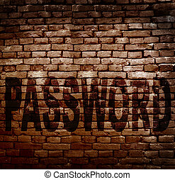 Password protection - Brick wall with Password text --...