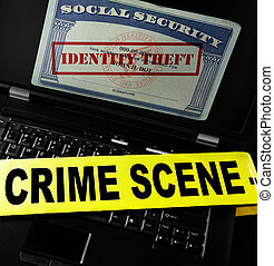 Online Identity Theft - Social Security card with Identity...