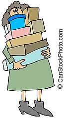 Woman carrying boxes - This illustration depicts a woman...