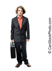 Young adult holding briefcase with neutral expression...