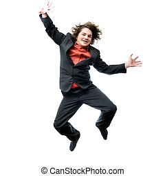 Young Businessman jumping for joy