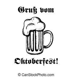 Mug of beer-2 - Hand-drawn vector illustration of a mug of...