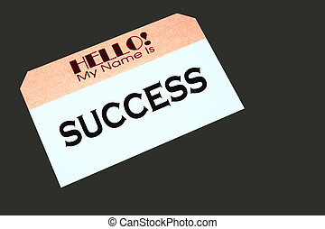 name tag indicating success - name tag with the word success...