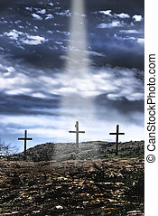 Jesus is Comming - The three old wooden crosses on the hill...
