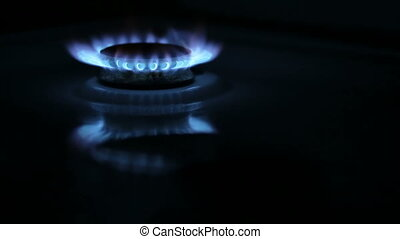 Kitchen Gas Burner - Two kitchen gas burners on and off