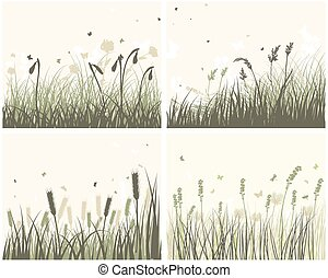 4 Meadow Backgrounds - Set of 4 Meadow Backgrounds With...