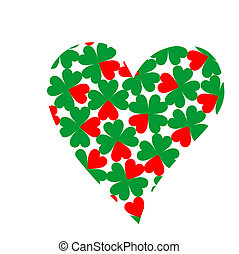 heart filled with four-leaf clovers in bright red and green