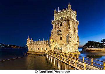 Belem Tower at dusk