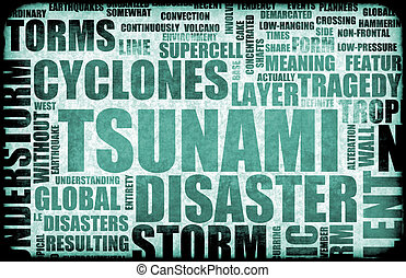 Tsunami Natural Disaster as a Art Background