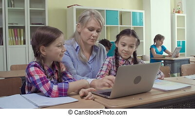 Learning Computer Skills - Primary students learning...