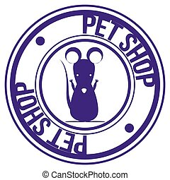 Pet shop - Isolated mouse on a label with text. Vector...