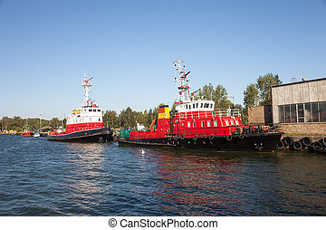 Fire rescue ship in port of Gdansk, Poland