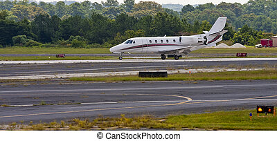 Large Private Jet Landing