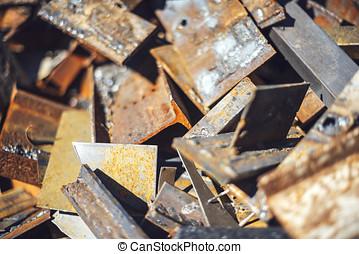 Closeup pile of scrap metal junk garbage