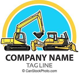 Construction Logo - Vector Illustration of Excavator and...