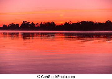 Summer landscape - View of summer landscape at sunset or...