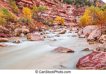 Virgin River Zion N.P. in Fall