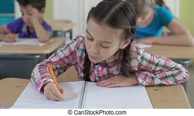 Diligent Elementary Student - Diligent schoolgirl doing sums...