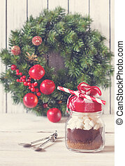 Christmas - Hot chocolate mix with marshmallow in glass jar...