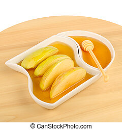 apples in honey - Dipping apples in honey for Rosh HaShana,...