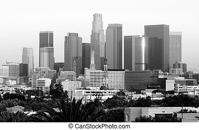 Monochrome Sunset Los Angeles California Downtown City Skyline