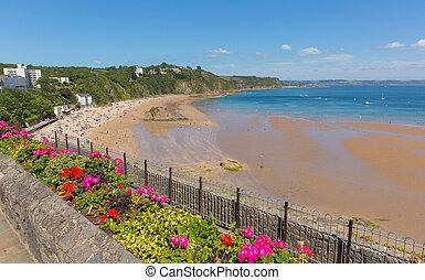 Tenby beach Wales uk in summer