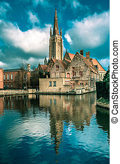 The picturesque city landscape in Bruges, Belgium - The...