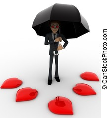 3d man with umbrella and many red hearts concept on white...