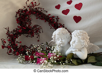 cherubs and roses - white cherubs with roses and heart...