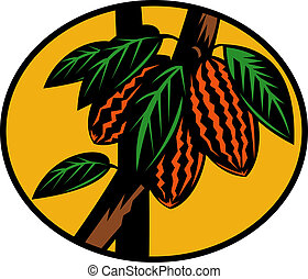 cacao or cocoa fruit on tree - illustration of a cacao or...