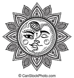 Sun and moon vintage illustration - Sun, moon and stars...