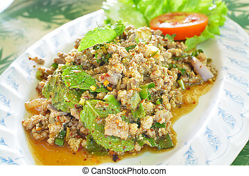 "Minced Duck Spicy Salad with Herbs or ""Larp Ped"" in Thai...."