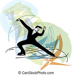 man ice skater skating at colorful sports arena - abstract...