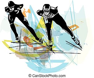 speed ice skaters at colorful ice rink - abstract...