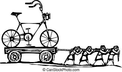 Dragging Bike - Woodcut style expressionist image of people...
