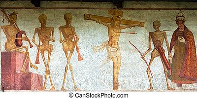 Fresco Macabre Dance - Pinzolo Trento Italy - Detail of...