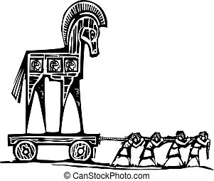 Trojan Horse Dragged - Woodcut style expressionist image of...
