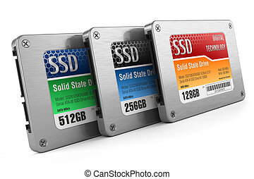 SSD drives, State solid drives, isolated on white background 3d