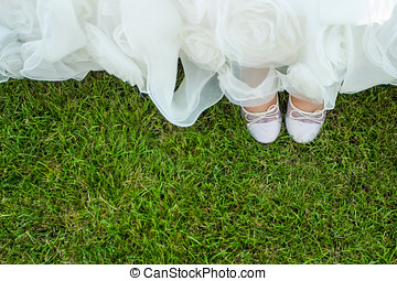 Birds eye view of brides shoes - A birds eye view of the...
