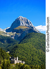 Peak of Mangart - Border Italy Slovenia - Rocky peak of...