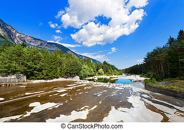 Riverbed Dried After the Dam - Carinthia Austria - The dry...