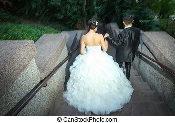 Newlyweds walking down stone stairs - A rear view of...