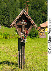 Wayside Shrine in Mountain - Trentino Italy - Typical wooden...